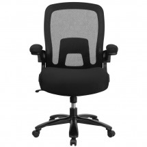 Flash Furniture BL-ZP-8805-BK-GG Mid-Back Black Mesh Swivel Task Chair with Gray Frame and Flip-Up Arms addl-3