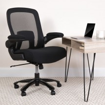 Flash Furniture BL-ZP-8805-BK-GG Mid-Back Black Mesh Swivel Task Chair with Gray Frame and Flip-Up Arms addl-4