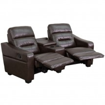 Flash Furniture BT-70380-2-BRN-GG Futura 2-Seat Reclining Brown Leather Theater Seating Unit with Cup Holders addl-1