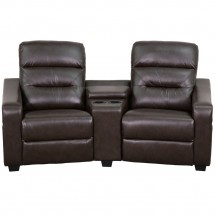 Flash Furniture BT-70380-2-BRN-GG Futura 2-Seat Reclining Brown Leather Theater Seating Unit with Cup Holders addl-3