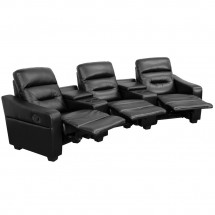Flash Furniture BT-70380-3-BK-GG Futura 3-Seat Reclining Black Leather Theater Seating Unit with Cup Holders addl-1