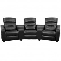 Flash Furniture BT-70380-3-BK-GG Futura 3-Seat Reclining Black Leather Theater Seating Unit with Cup Holders addl-3