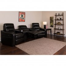 Flash Furniture BT-70380-3-BK-GG Futura 3-Seat Reclining Black Leather Theater Seating Unit with Cup Holders addl-4