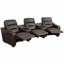 Flash Furniture BT-70380-3-BRN-GG Futura 3-Seat Reclining Brown Leather Theater Seating Unit with Cup Holders addl-1