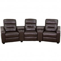Flash Furniture BT-70380-3-BRN-GG Futura 3-Seat Reclining Brown Leather Theater Seating Unit with Cup Holders addl-3