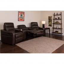 Flash Furniture BT-70380-3-BRN-GG Futura 3-Seat Reclining Brown Leather Theater Seating Unit with Cup Holders addl-4
