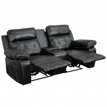 Flash Furniture BT-70530-2-BK-GG Reel Comfort 2-Seat Reclining Black Leather Theater Seating Unit with Straight Cup Holders addl-1