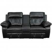 Flash Furniture BT-70530-2-BK-GG Reel Comfort 2-Seat Reclining Black Leather Theater Seating Unit with Straight Cup Holders addl-3