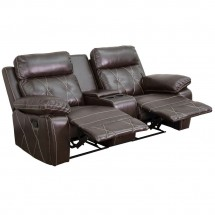 Flash Furniture BT-70530-2-BRN-GG Reel Comfort 2-Seat Reclining Brown Leather Theater Seating Unit with Straight Cup Holders addl-1