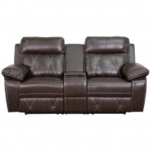 Flash Furniture BT-70530-2-BRN-GG Reel Comfort 2-Seat Reclining Brown Leather Theater Seating Unit with Straight Cup Holders addl-3