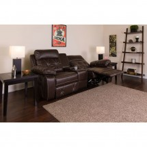 Flash Furniture BT-70530-2-BRN-GG Reel Comfort 2-Seat Reclining Brown Leather Theater Seating Unit with Straight Cup Holders addl-4