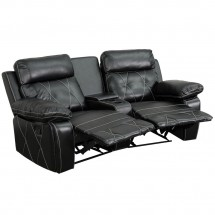 Flash Furniture BT-70530-2-BK-CV-GG Reel Comfort 2-Seat Reclining Black Leather Theater Seating Unit with Curved Cup Holders addl-1