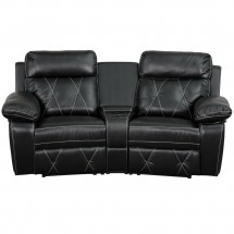 Flash Furniture BT-70530-2-BK-CV-GG Reel Comfort 2-Seat Reclining Black Leather Theater Seating Unit with Curved Cup Holders addl-2