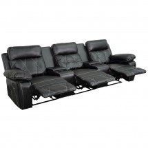 Flash Furniture BT-70530-3-BK-GG Reel Comfort 3-Seat Reclining Black Leather Theater Seating Unit with Straight Cup Holders addl-1