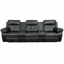Flash Furniture BT-70530-3-BK-GG Reel Comfort 3-Seat Reclining Black Leather Theater Seating Unit with Straight Cup Holders addl-2