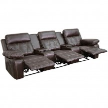 Flash Furniture BT-70530-3-BRN-GG Reel Comfort 3-Seat Reclining Brown Leather Theater Seating Unit with Straight Cup Holders  addl-1
