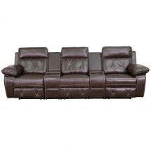 Flash Furniture BT-70530-3-BRN-GG Reel Comfort 3-Seat Reclining Brown Leather Theater Seating Unit with Straight Cup Holders  addl-2