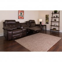 Flash Furniture BT-70530-3-BRN-GG Reel Comfort 3-Seat Reclining Brown Leather Theater Seating Unit with Straight Cup Holders  addl-4
