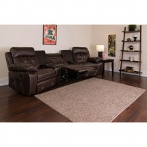 Flash Furniture BT-70530-3-BRN-CV-GG Reel Comfort 3-Seat Reclining Brown Leather Theater Seating Unit with Curved Cup Holders addl-4