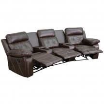 Flash Furniture BT-70530-3-BRN-CV-GG Reel Comfort 3-Seat Reclining Brown Leather Theater Seating Unit with Curved Cup Holders addl-1