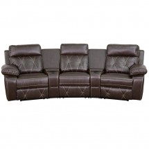 Flash Furniture BT-70530-3-BRN-CV-GG Reel Comfort 3-Seat Reclining Brown Leather Theater Seating Unit with Curved Cup Holders addl-2