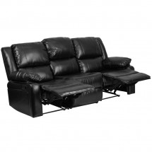 Flash Furniture BT-70597-SOF-GG Harmony Series Black Leather Sofa with Two Built-In Recliners addl-1