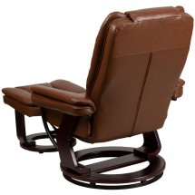 Flash Furniture BT-7818-VIN-GG Contemporary Multi-Position Recliner with Horizontal Stitching and Ottoman with Swivel Mahogany Wood Base in Brown Vintage Leather addl-2
