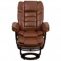 Flash Furniture BT-7818-VIN-GG Contemporary Multi-Position Recliner with Horizontal Stitching and Ottoman with Swivel Mahogany Wood Base in Brown Vintage Leather addl-3