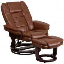 Flash Furniture BT-7818-VIN-GG Contemporary Multi-Position Recliner with Horizontal Stitching and Ottoman with Swivel Mahogany Wood Base in Brown Vintage Leather addl-4