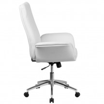 Flash Furniture BT-88-MID-WH-GG Mid-Back White Leather Executive Swivel Office Chair with Flared Arms addl-1