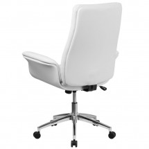 Flash Furniture BT-88-MID-WH-GG Mid-Back White Leather Executive Swivel Office Chair with Flared Arms addl-2