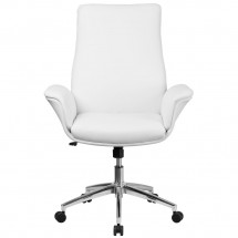 Flash Furniture BT-88-MID-WH-GG Mid-Back White Leather Executive Swivel Office Chair with Flared Arms addl-3