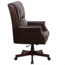 Flash Furniture BT-9025H-2-BN-GG High Back Pillow Back Brown Leather Executive Swivel Chair with Arms addl-1