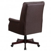 Flash Furniture BT-9025H-2-BN-GG High Back Pillow Back Brown Leather Executive Swivel Chair with Arms addl-2