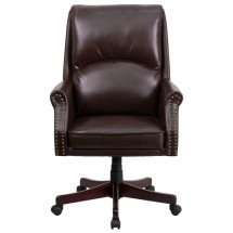 Flash Furniture BT-9025H-2-BN-GG High Back Pillow Back Brown Leather Executive Swivel Chair with Arms addl-3