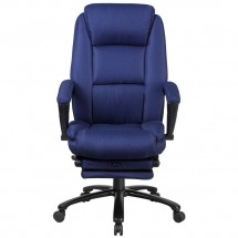 Flash Furniture BT-90288H-NY-GG High Back Navy Fabric Executive Reclining Swivel Office Chair with Comfort Coil Seat Springs and Arms addl-1