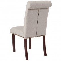Flash Furniture BT-P-BGE-FAB-GG HERCULES Series Beige Fabric Parsons Chair with Rolled Back, Accent Nail Trim and Walnut Finish addl-2