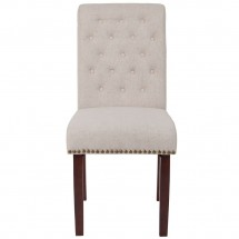 Flash Furniture BT-P-BGE-FAB-GG HERCULES Series Beige Fabric Parsons Chair with Rolled Back, Accent Nail Trim and Walnut Finish addl-3