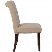 Flash Furniture BT-P-BG-LEA-GG HERCULES Series Beige Leather Parsons Chair with Rolled Back, Accent Nail Trim and Walnut Finish addl-1