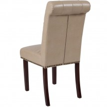 Flash Furniture BT-P-BG-LEA-GG HERCULES Series Beige Leather Parsons Chair with Rolled Back, Accent Nail Trim and Walnut Finish addl-2