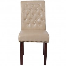Flash Furniture BT-P-BG-LEA-GG HERCULES Series Beige Leather Parsons Chair with Rolled Back, Accent Nail Trim and Walnut Finish addl-3