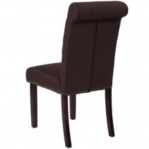 Flash Furniture BT-P-BRN-FAB-GG HERCULES Series Brown Fabric Parsons Chair with Rolled Back, Accent Nail Trim and Walnut Finish addl-2