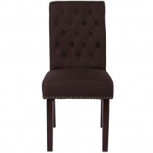 Flash Furniture BT-P-BRN-FAB-GG HERCULES Series Brown Fabric Parsons Chair with Rolled Back, Accent Nail Trim and Walnut Finish addl-3