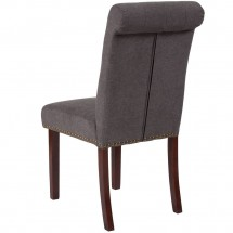 Flash Furniture BT-P-DKGY-FAB-GG HERCULES Series Dark Gray Fabric Parsons Chair with Rolled Back, Accent Nail Trim and Walnut Finish addl-2