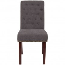 Flash Furniture BT-P-DKGY-FAB-GG HERCULES Series Dark Gray Fabric Parsons Chair with Rolled Back, Accent Nail Trim and Walnut Finish addl-3