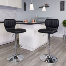 Flash Furniture CH-132330-BK-GG Contemporary Charcoal Vinyl Adjustable Height Barstool with Vertical Stitch Back and Chrome Base addl-4