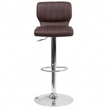 Flash Furniture CH-132330-BRN-GG Contemporary Brown Vinyl Adjustable Height Barstool with Vertical Stitch Back and Chrome Base addl-3