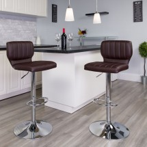 Flash Furniture CH-132330-BRN-GG Contemporary Brown Vinyl Adjustable Height Barstool with Vertical Stitch Back and Chrome Base addl-4
