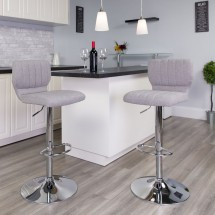 Flash Furniture CH-132330-GYFAB-GG Contemporary Gray Fabric Adjustable Height Barstool with Vertical Stitch Back and Chrome Base addl-4