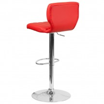 Flash Furniture CH-132330-RED-GG Contemporary Red Vinyl Adjustable Height Barstool with Vertical Stitch Back and Chrome Base addl-2
